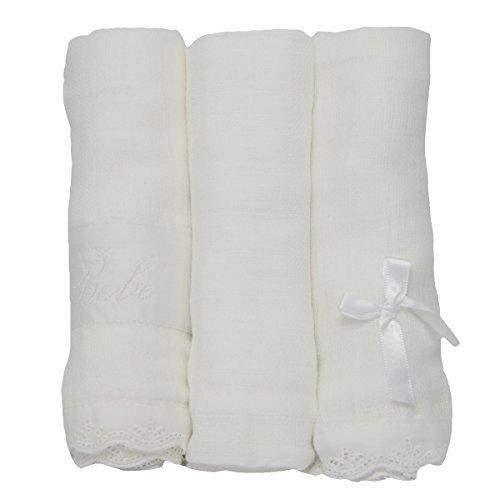 PEKITAS Muselinas Pack de 3 | Mantas de Muselina 100% Algodón | Paños de Muselina para Bebés Calidad 75 x 75 cm Blancos
