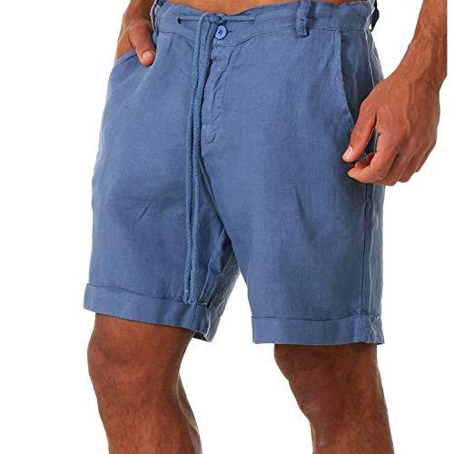 DELIMALI Pantalones cortos de los hombres, Color sólido de cintura alta pantalones cortos ropa deportiva con bolsillos con cordón