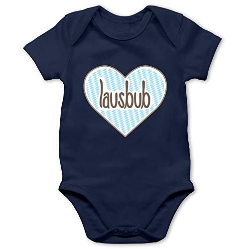 Shirtracer Oktoberfest & Wiesn Baby - Lausbub Herz - 3/6 Monate - Navy Blau - Lederhose Baby - BZ10 - Baby Body Kurzarm für Jungen und Mädchen