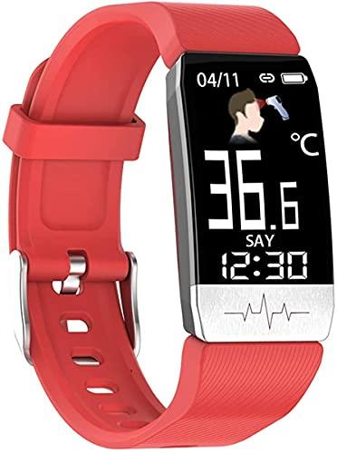 QHG Smart Watch Monitor de presión Arterial Rate Fitness Activity Tracker IP67 Reloj de Entrenamiento de podómetro Impermeable para Hombres Mujeres (Color : Red)
