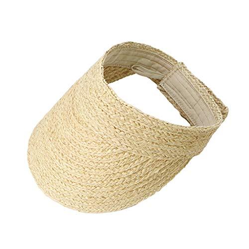 VIccoo Strandhut, Damen Sommer handgefertigt gewebt Bast Stroh Sonnenblende Hut leer Oben breiter Krempe UV-Schutz einstellbar Faltbare Schirmmütze Strand - A