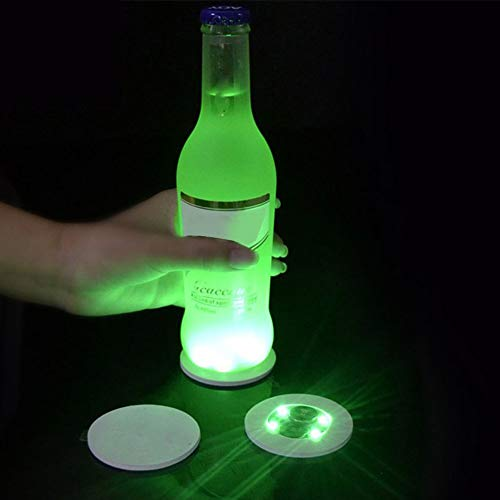 Dessous de verre LED, mini tapis lumineux pour bouteille de bière, verre à vin, tapis lumineux, autocollants, dessous-de-verre pour maison, fête, club, bar, Vert, free size