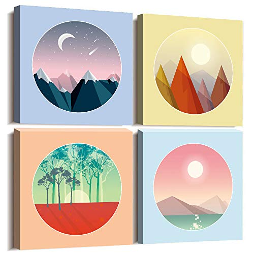 Bathroom Wall Decor Canvas wall art for living room circular Landscape painting Modern Home Decor 4 Panels Framed Canvas Prints Sunrise and sunset moon scenery artwork bedroom Watercolor painting