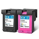 Cartucho de tinta 664XL, repuesto de alto rendimiento para HP Deskjet Ink Advantage 1115 2136 2135 2675 3635 3636 3836 3775 5075 impresora de inyección de tinta negra y tricolor
