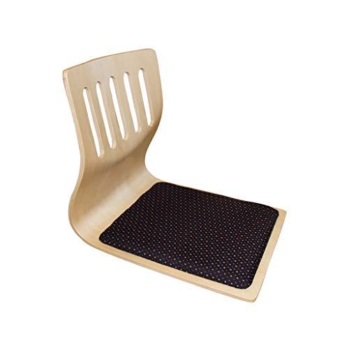 Xwz94 Japanischer Stuhl ohne Bein Bodenstuhl Hocker aus massivem Holz Rückenlehne Niedriger Tisch und Stuhl Erker mit Sitzbank Beinloser Lazy Chair Gebogener Stuhl aus Holz Rückenlehne (Farbe : A)