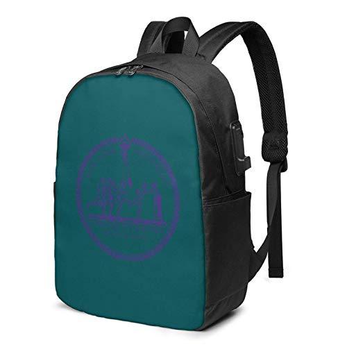 Hdadwy Mochila USB de la Universidad de Nueva York Bolsas de Mano de 17 Pulgadas Mochila para computadora portátil para Viajes de Negocios