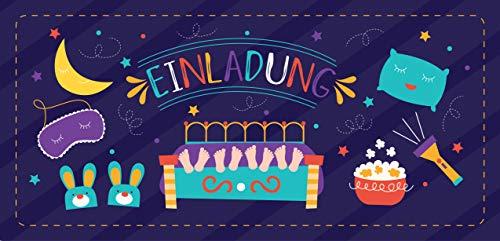 12 Einladungskarten Übernachtungsparty + 13 Aufkleber Gratis - Mädchen Jungen / Party Mitgebsel Karten Geburtstag Pyjamaparty Sleepover