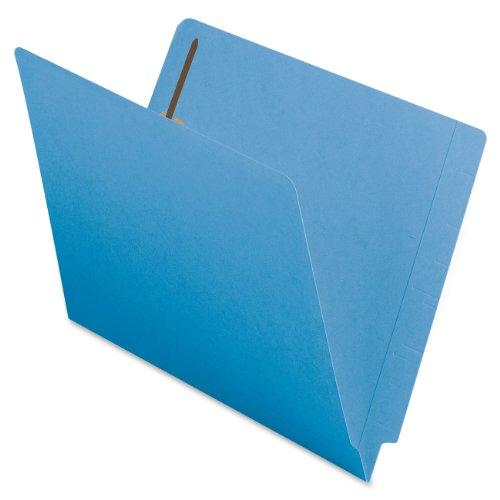 Smead End Tab Fastener File Folder, Shelf-Master Reinforced Straight-Cut Tab, 2 Fasteners, Letter Size, Blue, 50 per Box (25040)