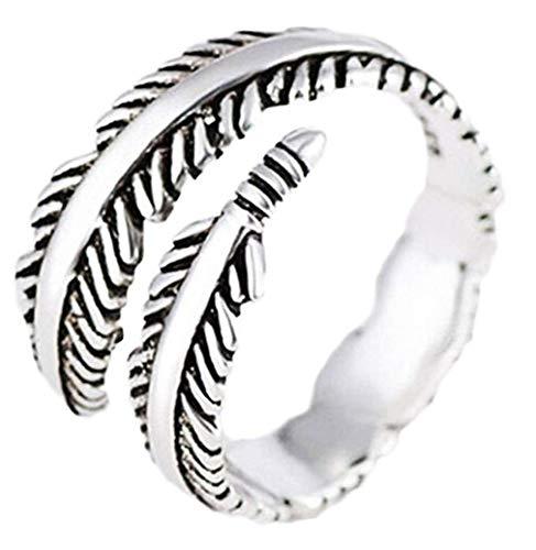 Scpink Vintage-Ring mit Federn, versilbert, offen, Rock-Style, verstellbar Come mostrato silber/schwarz
