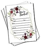 Best Wedding Invitations - 50 Elegant Floral Geometric Elegant Frame Invitation Burgundy Review