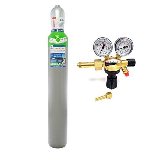 """Schutzgas 10 Liter Flasche/NEUE Gasflasche (Eigentumsflasche), gefüllt mit Mischgas 82% Argon 18% Co2 /10 Jahre TÜV/EU Zulassung/PROFI-Schweißgas MAG – Import mit Druckminderer """"SET"""""""