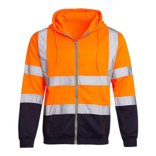 Men Reflective Hooded Sweatshirt Coat Long Sleeve Reflective Strip Hoodie Zipper Tops for Daily Casual Wear (Orange, 4XL)