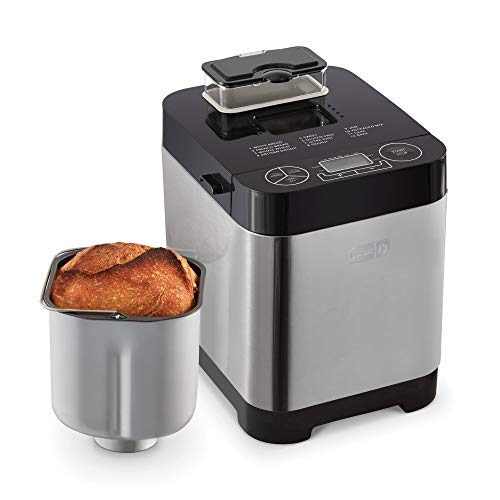 Dash Everyday Stainless Steel Bread Maker, Up to 1.5lb Loaf, Programmable, 12 Settings + Gluten Free & Automatic Filling Dispenser - Black