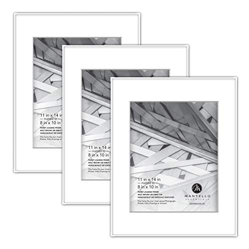 Mantello Front Loading White Picture Frame - Display 8x10-Inch Photos (Matted) or 11x14-Inch Photos (No Mat) - For Artwork, Diploma, Certificate, Collage - Large Hanging Gallery Wall Frame Set of 3