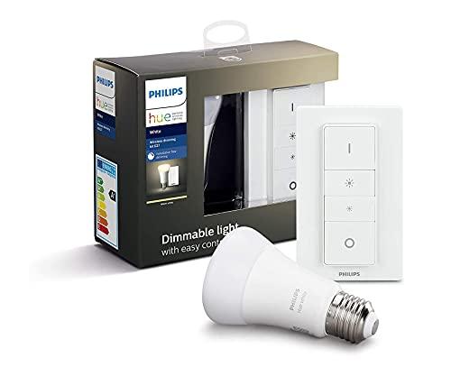 Philips Hue - Bombilla inteligente, E27, Luz cálida regulable, Mando inteligente incluido, 9W, Compatible con Alexa y Google Home - Pack de 1 Bombilla LED inteligente