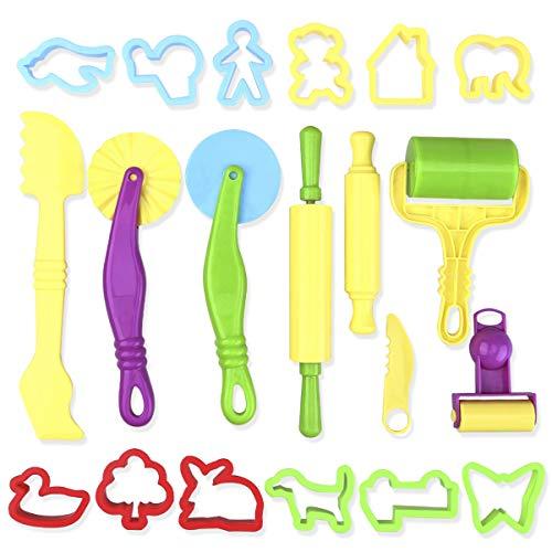 ROSENICE Kit de Herramientas de Masa Inteligente con Modelos y Moldes 20 Piezas (color aleatorio)