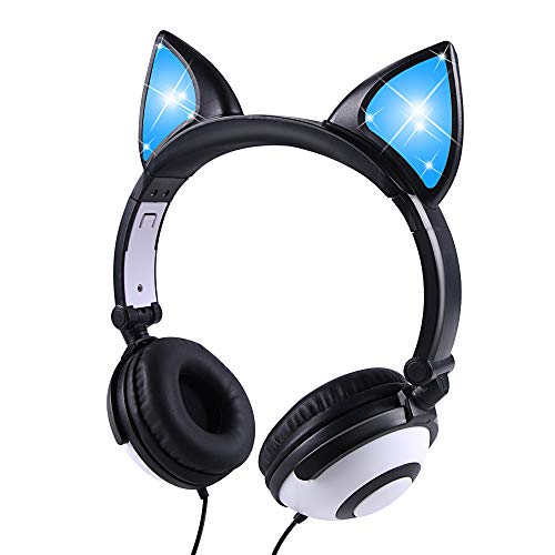 Kids Headphones, LOBKIN Wired Headphones for Kids, Cat Ear LED Light Up Adjustable Headband, Stereo Sound Headsets Childrens Headphones on Ear (Black+White)