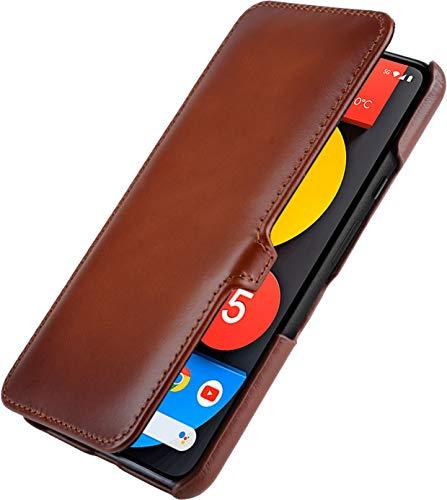 StilGut Book Hülle kompatibel mit Google Pixel 5 Hülle aus Leder mit Clip-Verschluss, Lederhülle, Klapphülle, Handyhülle - Cognac Antik
