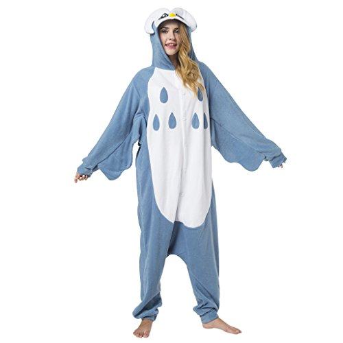 Katara 1744 -Eule Kostüm-Anzug Onesie/Jumpsuit Einteiler Body für Erwachsene Damen Herren als Pyjama oder Schlafanzug Unisex - viele Verschiedene Tiere
