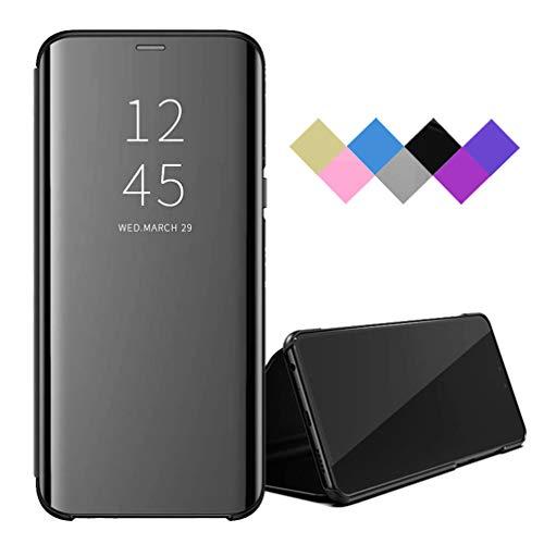 BRAND SET Hülle für LG Velvet 5G Tasche Smart Spiegel Lederhülle Shell Flip Hülle Mit Sleep/Wake-Funktion Schutzhülle für LG Velvet 5G-Schwarz