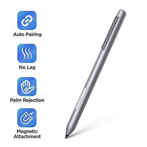 Stylus Pen for Surface, Auto Pairing Vitade Pen for Surface Pro 7/6/5/4/3, Surface Laptop 3/2/1, Surface Book 2/1, Surface Go with Eraser Button, Including 2 Pen Tips & Battery (Silver)