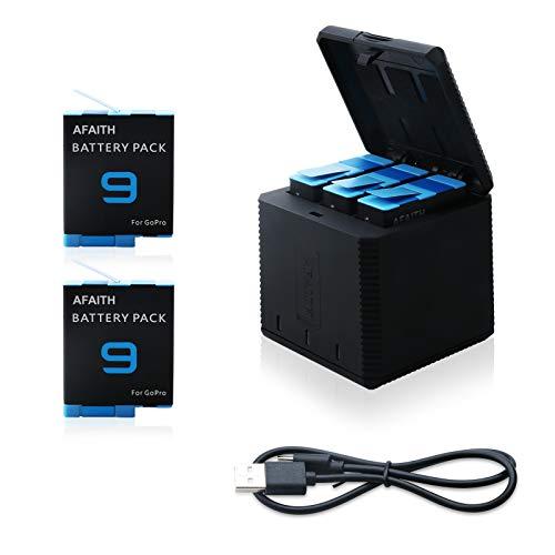 AFAITH 2 Baterías + Cargador de Batería de 3 Canales para GoPro Hero 9 Black, Batería Recargables Caja de Carga de Set con Kit de Accesorios de Cable USB Tipo C para GoPro Hero 9 Black