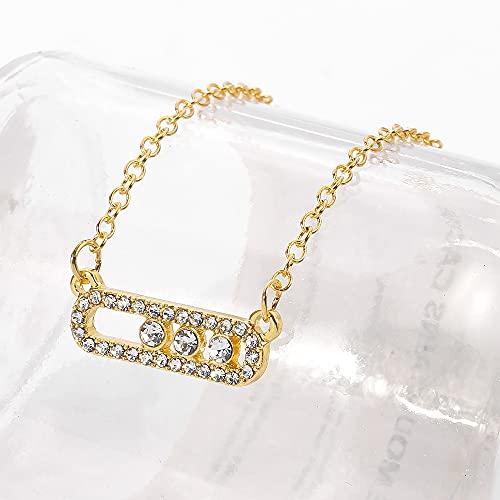 MIKUAX collarCollar Colgante de Cuentas de Cristal de Estilo árabe para Mujer Delicada joyería de Boda Punto de Cadena de eslabones en Collar Ovalado Collar de Metal Collar Collar