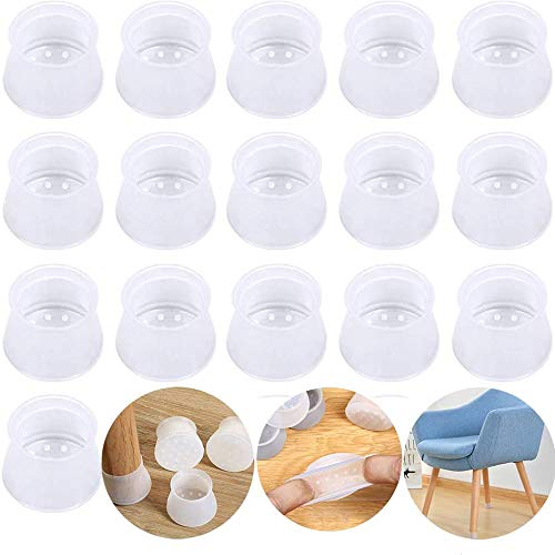 Protectores de silicona para patas de silla, antideslizantes, redondos, cuadrados, protectores de suelo para muebles, evita arañazos y ruidos, 16 piezas transparentes