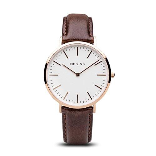 BERING Unisex Analog Quarz Classic Collection Armbanduhr mit Kalbsleder Armband und Saphirglas 13738-564