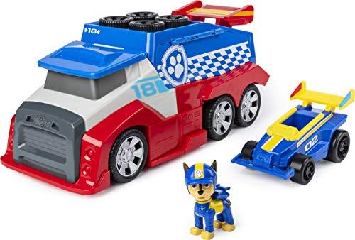 La Pat' Patrouille - 6054505 - Camion Mobile Pit Stop Team Ready Race Rescue + 1 véhicule et figurine Chase - Jeu jouet enfant - Paw Patrol
