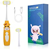 Cellena Kids Electric Toothbrush - Soft 3-Sided Bristles, Easy-Press Power Button, Cartoon Sonic Toothbrush with Smart Timer, 2 Brush Heads - Ages 5+ (Orange-Cartoon)