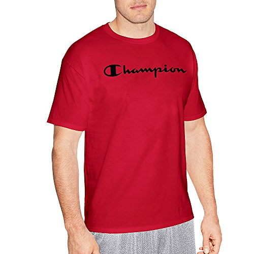 Champion Graphic Jersey Tee (GT280) Athletic Red Screen Print Script, L