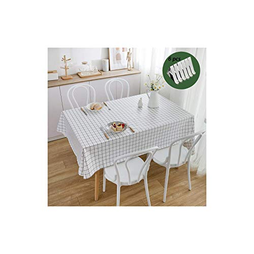 Mantel PVC clips mantel, paño de mesa impermeable rectangular limpio para jardín de cocina al aire libre o interior 140 * 180 cm-rejilla en blanco y negro