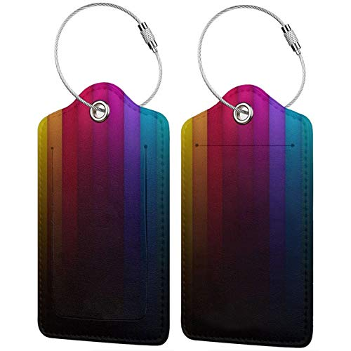 FULIYA Travel Luggage Suitcase Labels ID Tags Business Card Holder, Set of 2,Line, Shadow, Stripes, Vertical, Multi-Colored