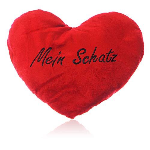 Herzkissen Mein Schatz groß | Hochwertiges XXL Kuschelkissen sehr flauschig in Rot | Plüsch-Kissen Herz Mein Schatz ideal Sie & Ihn