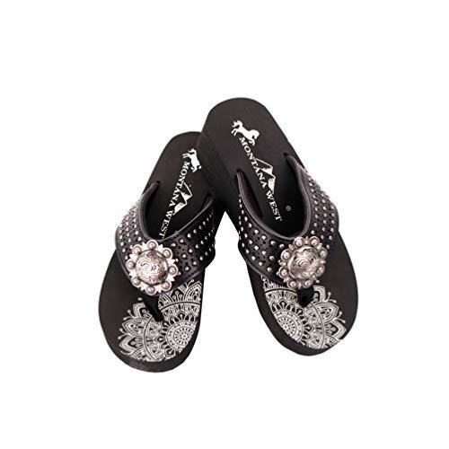 Montana West Flag Flip Flops Western Embroidered Studded Comfort Wedge Sandals Shoes for Women Black- SE99-S095BK-8