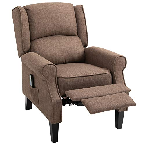 HOMCOM Heated Vibrating Linen Fabric Massage Recliner Chair Push-Back with Remote Controller - Light Brown