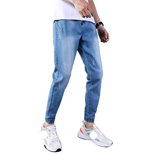 Men's Jeans Ripped Nine-Point Pants Slim Korean Small Feet Light Blue