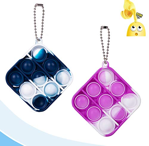 2PCS Mini Stress Relief Hand Toys, Simple Sensory Toys, Bubble Wrap Pop Tie-dye Small Pendant for Anxiety Stress Reliever Kids Adults (Square)