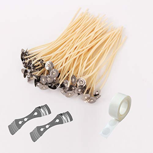 3.5 Inch 100Pcs Hemp Candle Wicks with 100pcs Wick Stickers+2 Candle Wick Centering Device Pre-Waxed by 100% Natural Beeswax & Tabbed for Candle Making Fit Cup Diameter 5-8 cm