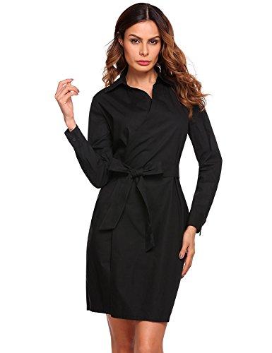 ACEVOG dames blousekjurk lange mouwen jurk staande kraag hemdjurk wikkeljurk vrijetijdsjurk met riem
