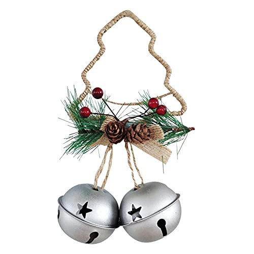 2 pcs de piñas navideñas Jingle Bell, colgador de pared para puerta, adornos de campana de hierro rústico para Navidad, vacaciones, guirnalda vintage, boda de invierno, campanas de decoración navideña
