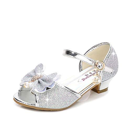 Youpin Zapatos de piel para niñas de princesa con purpurina, estilo casual, con purpurina, para niños, de tacón alto, con nudo de mariposa, azul, rosa, plata (color: B, plata, talla de zapato: 36)