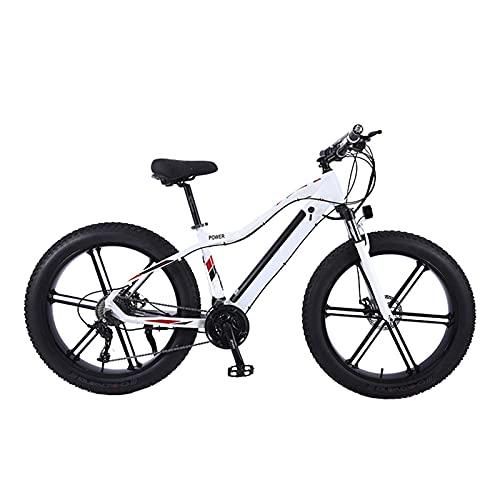 Bicicleta Eléctrica, 26' Bicicleta de montaña eléctrica para adultos de motos de nieve de neumáticos gordos, Batería de litio extraíble, E-bike de 27 velocidades, Frenos de doble disco,Blanco,48V 750W