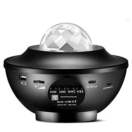 Upgrow LED Sternenhimmel Projektor, Baby Nachtlicht, Farbwechsel Musik Sternenprojektor mit Fernbedienung Bluetooth Lautsprecher Stimmungslicht Dekorative