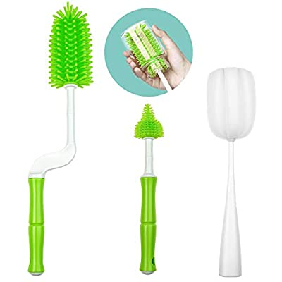 Silicone Bottle Brush, 360°Rotating Baby Bottle Treat Brush Set BPA Free Long Handle Cleaner for Cleaning All Kinds of Bottles, Teats, Vases and Glassware with Flexible Handle(Green) (Green)