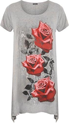 UW LOOK FASHION Nieuwe Womens Plus Size Ongelijke Hanky Hem T-shirt met korte mouwen Top Dames Bloemen Rose Print Jersey Tuniek (UK 14, Grijs)