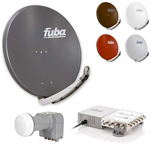 Fuba Sat-Anlage 8 Teilnehmer | erweiterbar bis 48 Teilnehmer DAA 850 Sat Schüssel DEK 407 Quattro LNB FMG 508 Multischalter 8 Teilnehmer (HDTV-, 4K- und 3D-kompatibel)
