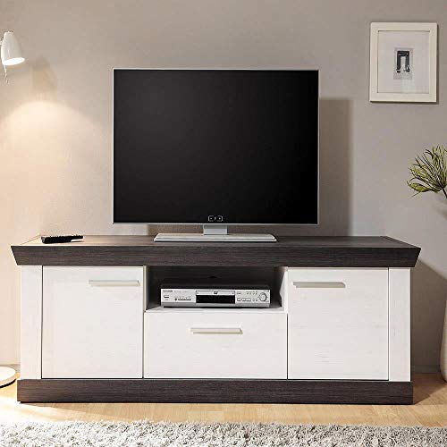 Landhaus TV Lowboard 158cm in Pinie weiß & Wenge Nb.