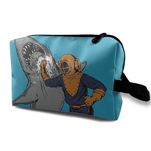 Organiseur de pinceaux de maquillage de grande capacité avec sac à main et sac de rangement en forme de requin